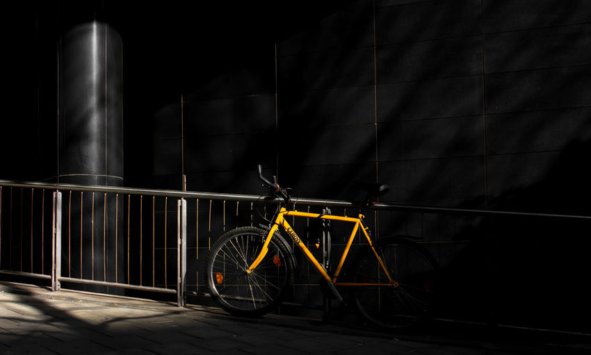 Streetwise Photography Night Transportation Mode Of Transportation Land Vehicle Bicycle No People Metal Architecture Built Structure Stationary Wheel Illuminated Building Exterior Dark Outdoors City Nature Parking Railing Industry Spoke Stuttgart