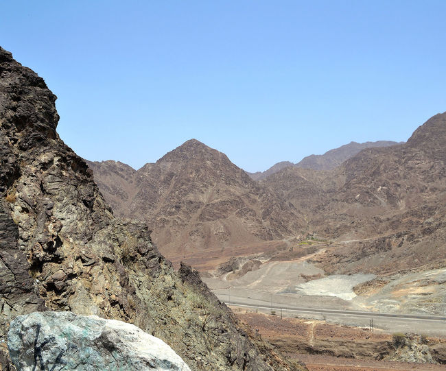 Barren Beauty In Nature Clear Sky Fujairah Geology Landscape Mountain Mountain Range Nature No People Non Urban Scene Non-urban Scene Outdoors Physical Geography Remote Rock Rock - Object Rock Formation Rocky Rocky Mountains Scenics Tranquil Scene Tranquility UAE