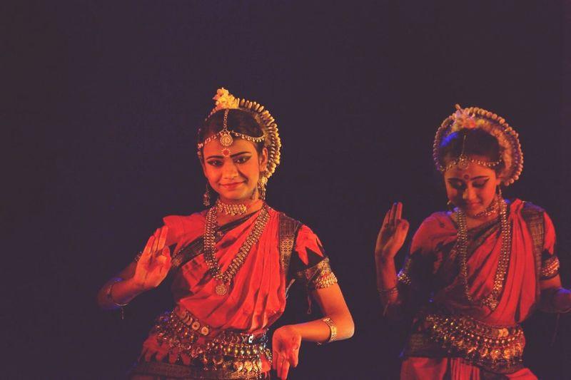 Following heart.... Bharatnatyam India Period Costume Studio Shot Black Background Celebration Traditional Dancing Dancer Sari Dancing
