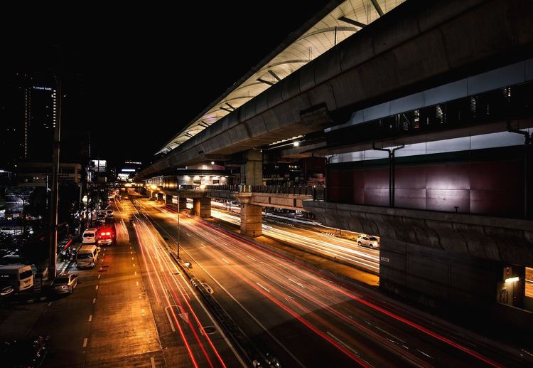 The moment of happiness is to return home to The family after work. Illuminated Architecture Night Built Structure Transportation City Motion