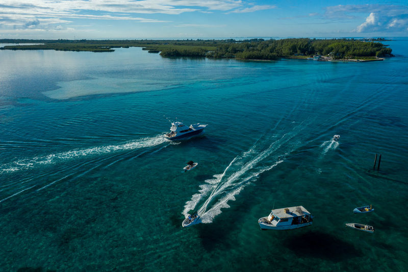 Bay Traffic Dji Mavic 2 Pro Water Nautical Vessel Transportation Mode Of Transportation Sea High Angle View Nature Scenics - Nature Beauty In Nature Day Tranquility Travel Wake - Water Cloud - Sky Tranquil Scene Wave Pattern Outdoors Ship No People Sailboat Yacht Turquoise Colored Bimini
