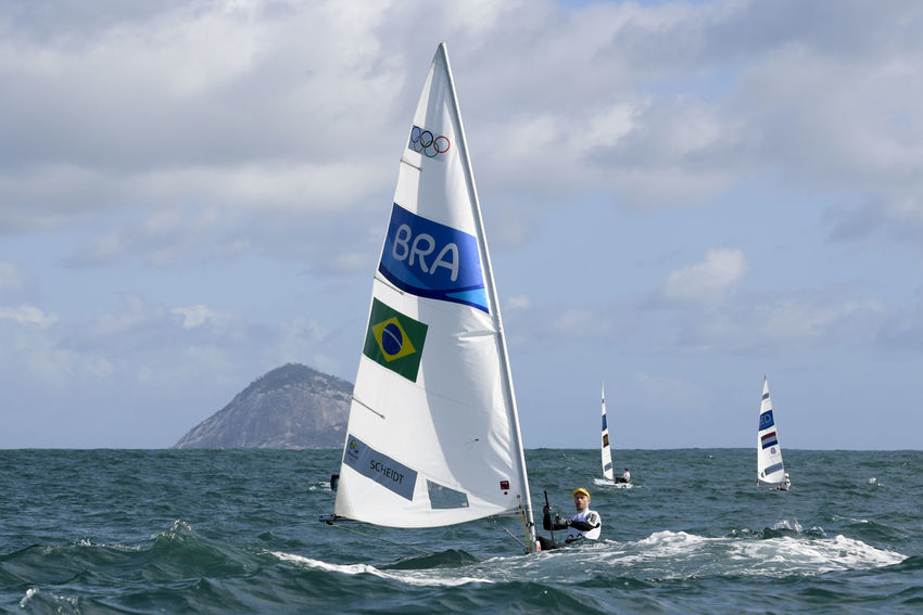 Rio, Brazil - august 12, 2016: Laser Men category during the Rio 2016 Olympic Games Sailing held at Marina da Gloria, Guanabara Bay OLYMPIC GAMES 2016 RIO DE JANEIRO BRASIL 🇧🇷 Olympic Games 2016 Day Nature Outdoors Rio2016 Sailling Sport, Water