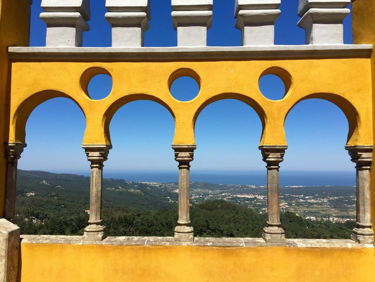 Fine Art Photography Structure Architecture Palace Sintra Selective Focus Scenery EyeEm Nature Lover Landscape Landscape_Collection Yellow Blue Sky Frame Pattern