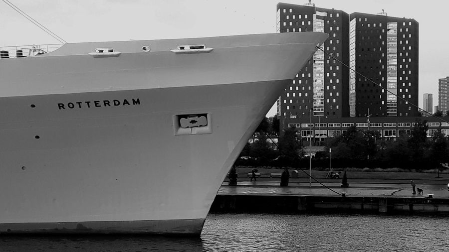 Monochrome Photography Cruise Ship Holland American Lines SS Rotterdam TakeoverContrast Perspective Majestic Bowing Head Gigantic Ship Buildings Things In Right Perspective Hotel Boat Dramatic Angles Minimalist Architecture