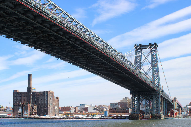 Low angle view of bridge over river and buildings against sky