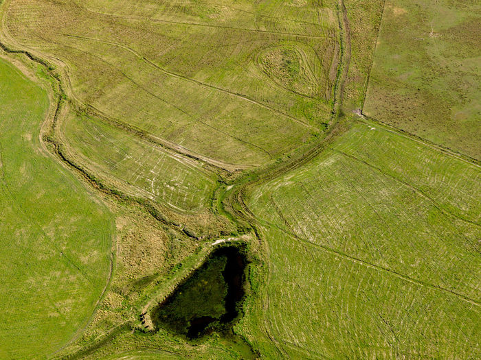 Aerial view of strewn field drawing art lines