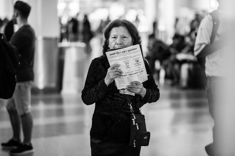 Come. Blackandwhite Close-up Day Evangelist Lifestyles One Person One Woman Only Outdoors Preaching Real People Religion Staten Island Ferry