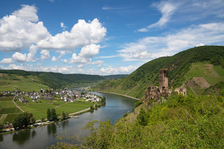 Panoramic image of the landscape close to beilstein with castle ruin, moselle, germany