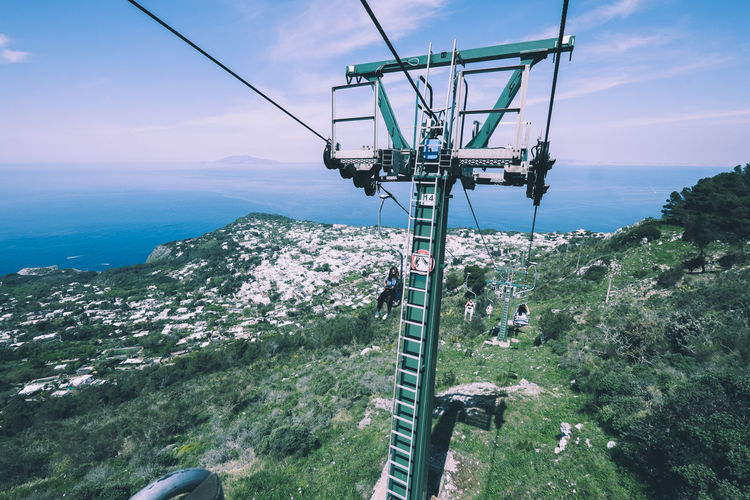 The Cable Car up to Monte Solari from Anacapri Sky Cable Car Scenics - Nature Beauty In Nature Nature Mountain Sea Overhead Cable Car Water No People Day Tranquil Scene Environment Cable Non-urban Scene Tranquility High Angle View Green Color Plant Outdoors Horizon Over Water View From Above Amazing View Capri Island