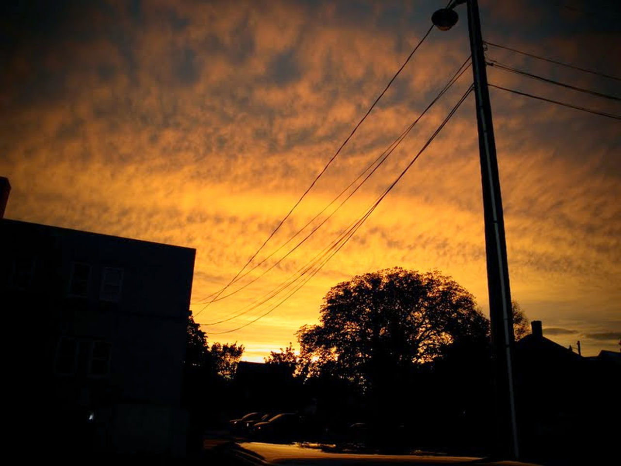 sunset, silhouette, tree, sky, cable, dramatic sky, cloud - sky, house, no people, nature, built structure, beauty in nature, outdoors, telephone line, architecture, building exterior, scenics, city