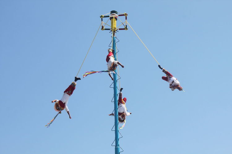 Adult Blue High Up Leisure Activity Mexico Outdoors Sky Voladores De Papantla