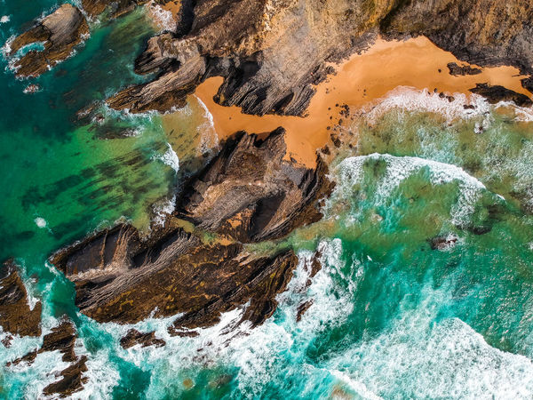 Drone  Nature Portugal Rock Sunlight Tranquility Wave Aerial View Beach Beauty In Nature Cavaleiro Cliff Dronephotography Idyllic No People Ocean Outdoors Photography Rock - Object Scenics Scenics - Nature Sea Tranquil Scene View From Above Water