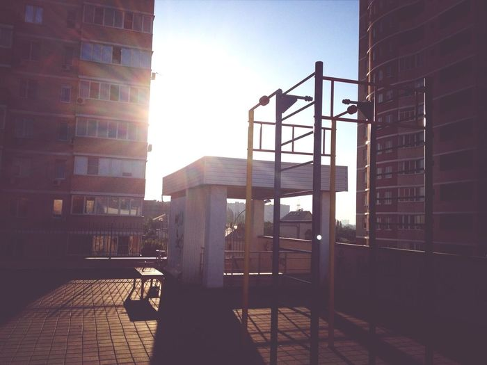Morning Sunrise Rooftops Urban Geometry