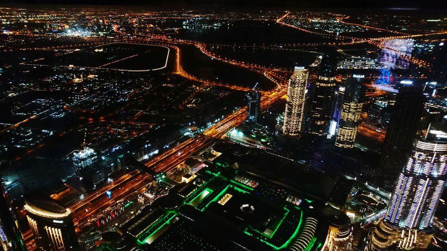 From the 126 floor... Dubai❤ Dubai Built Structure Burj Khalifa EyeEm Selects EyeEmNewHere EyeEm Best Shots Photo Session Xperia X Sony Camera City Lights Nightlights Nightlife Illuminated Nightlife City Arts Culture And Entertainment