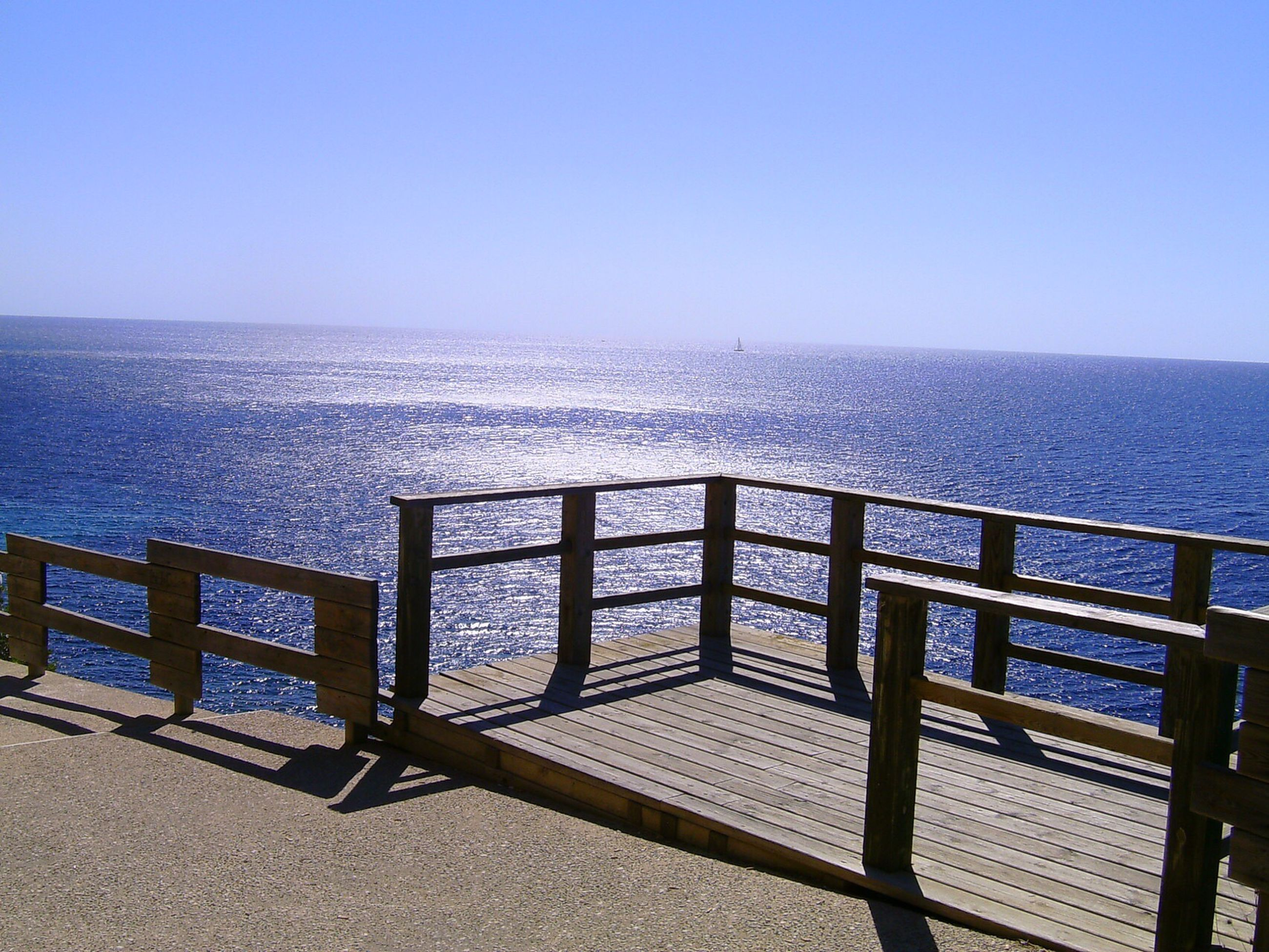 water, sea, railing, scenics, nature, clear sky, horizon over water, beauty in nature, outdoors, day, no people, tranquility, sky