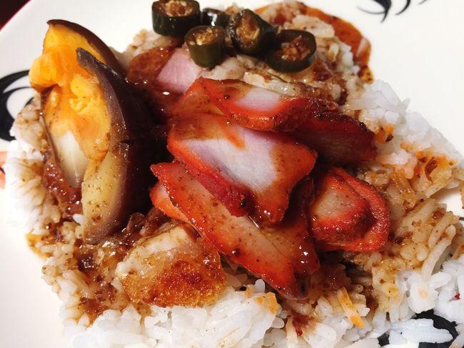 Street Food Worldwide Redporkwithrice Rice Pork Roast Dilicious Yummy Food Meal Dish Thailand