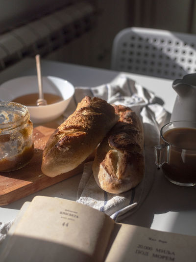 High angle view of breakfast on table