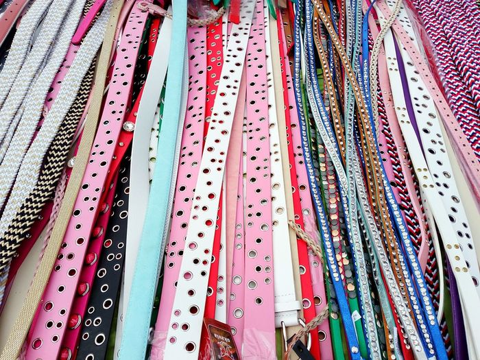 various colorful belts Belt  Belts Various Different Choice Choose Colorful Background Pattern Accesories Fashion Fashion Accesories Backgrounds Full Frame Pattern Textile Close-up Fabric Cloth For Sale Market Stall Market Street Market Retail Display Colorful Embroidery Display Stall LINE