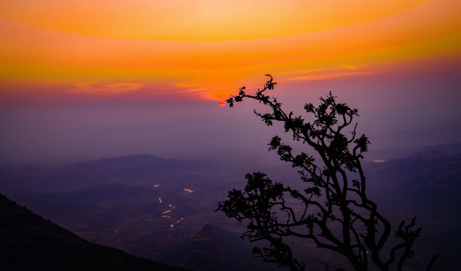 Lonavala Evening Beauty In Nature Intense Colors Landscape Lonavala Mountain Nature No People Outdoors Scenics Silhouette Sky Sunset Tranquil Scene Tranquility Tree