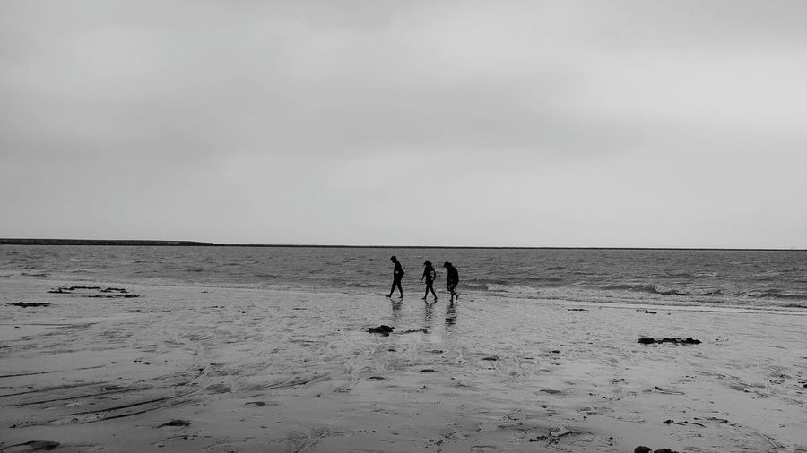 Silhouette male friends walking at beach against sky