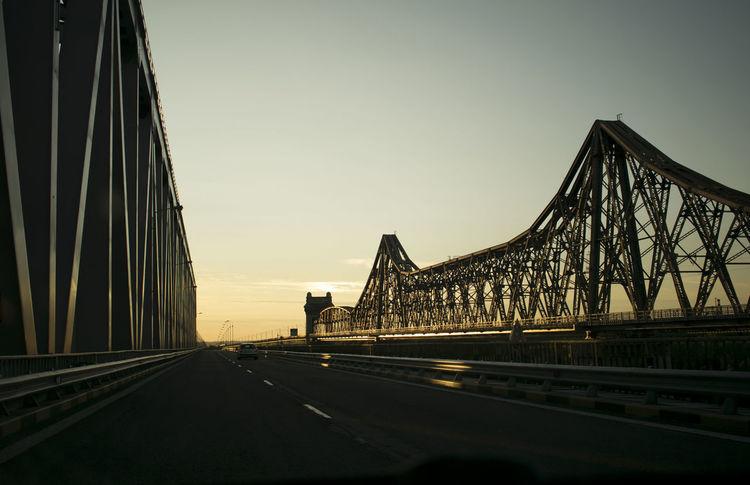 Bridge - Man Made Structure Clear Sky Connection Engineering Road Sky Sunset Suspension Bridge Transportation Travel