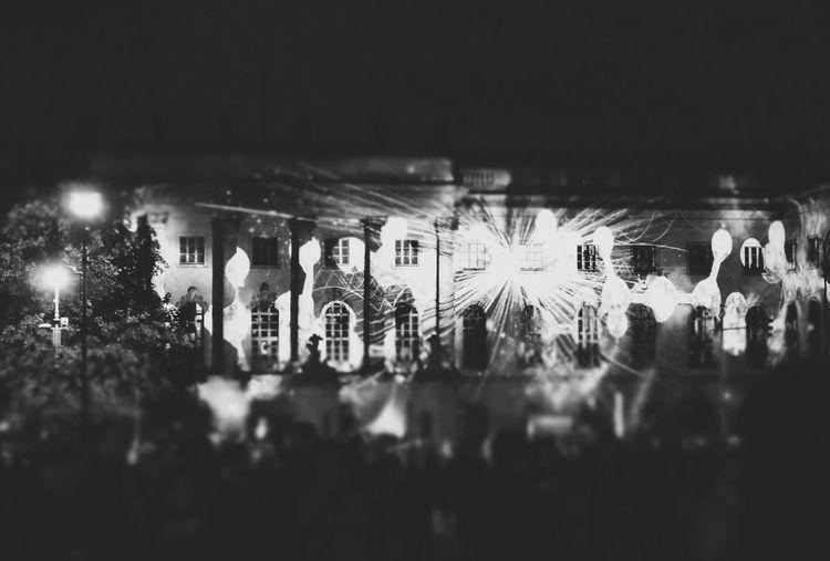 Festival Of Lights 2015 Humboldt Universität  Nightphotography Seeing The Sights Arts Culture And Entertainment Light Night Illuminated Blackandwhite Cities At Night
