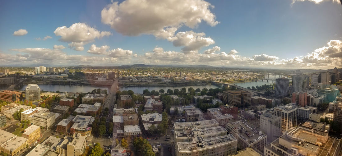 From a restaurant on top of a sky scraper in Portland, Oregon. Vantage Point Best Vantage Point Great Views Sky Day Aerial View TOWNSCAPE Travel Destinations Cityscape City Cloud - Sky From Up On H Portland, Oregon, USA EyeEmNewHere