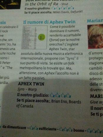 Il giornalino dei soci coop recensisce il nuovo di Aphex Twin ma con le idee poco chiare