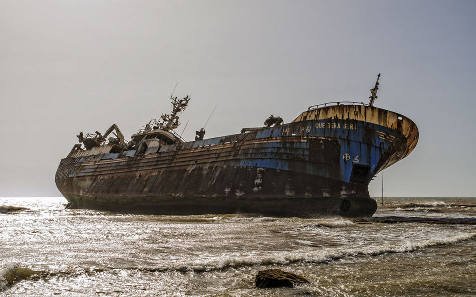 Abandoned Beauty In Nature Clear Sky Damaged Day Nature Naufragio Nautical Vessel No People Outdoors Sea Ship Sky Transportation Water Waterfront