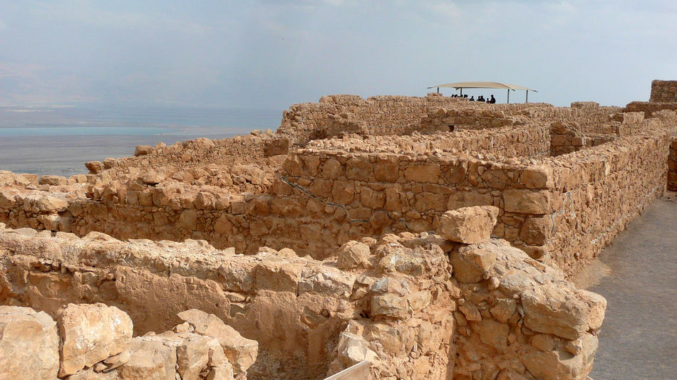 Masada Fortress walls and remains Ancient Beauty In Nature Day Israel Masada Nature No People Outdoors Roman Empire Sea Sky Walls