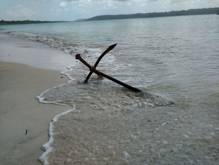 Andaman & Nicobar Islands Havelock Islands Beach Anchor Sea Sand Water Nature Abandoned Tranquility Fishing Day No People Outdoors Landscape Beauty In Nature Sky Salt - Mineral Sunken Metal Structure No Edit, No Filter, Just Photography Water Waves Abstract Photography EyeEm Best Shots Shapes And Sizes