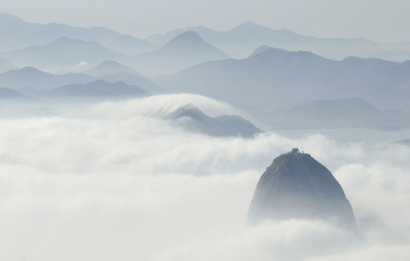 Rio De Janeiro Brazil Cloud Low Cloud Mist Travel High View Sugarloaf Shroud Peaks Mountains Cityscape Mystery Above The Clouds Waves Of Clouds Distant Mountains Landscape This Is Latin America