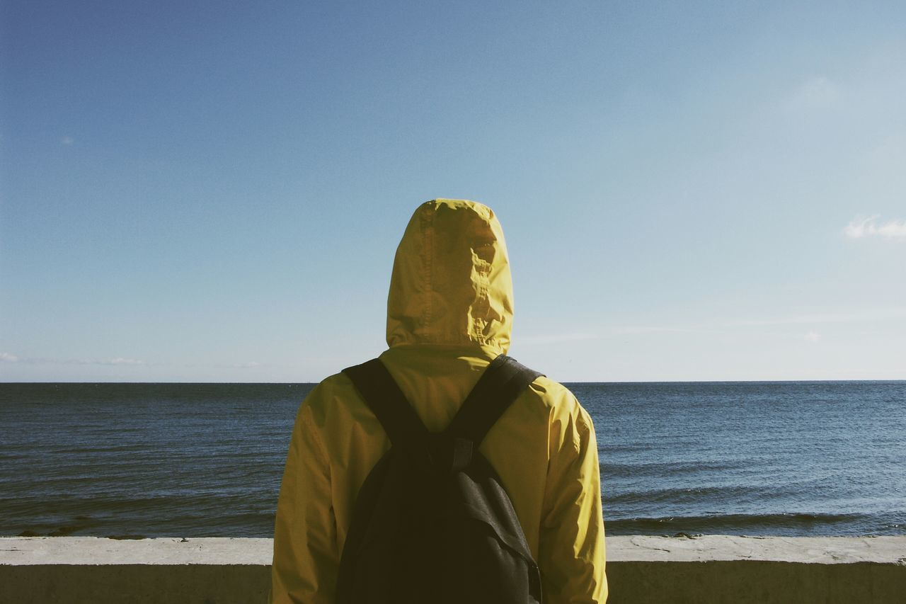Rear View Of Person Wearing Hooded Shirt Standing At Sea Shore