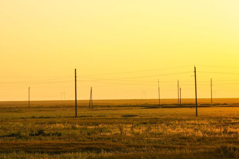 Kazakhstan steppes Kazakhstan Steppe Sky Sunset Landscape Field Electricity Pylon Scenics - Nature No People Connection Ontheroad Openness Blade Runner Another Planet