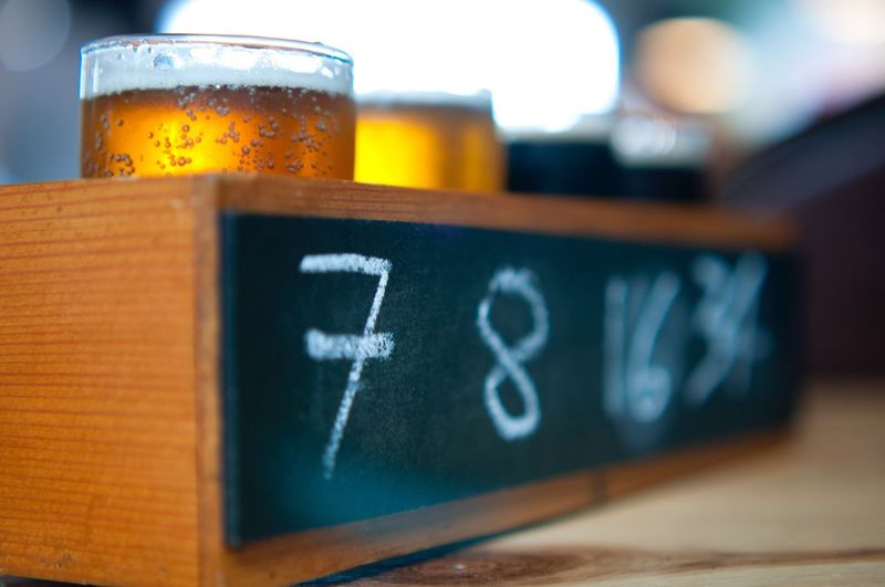 7, 8, 16, 34 Close-up No People Frothy Drink Day Craft Beer Wood Box DIPA Stoutbeer Beer Flights