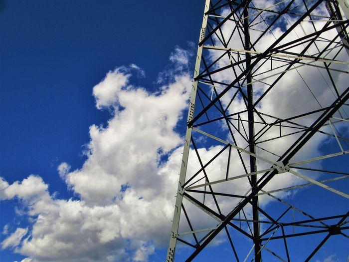 Blue Cloud - Sky Electrical Equipment Low Angle View Metal No People Outdoors Sky Technology