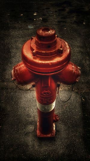 High angle view of fire hydrant