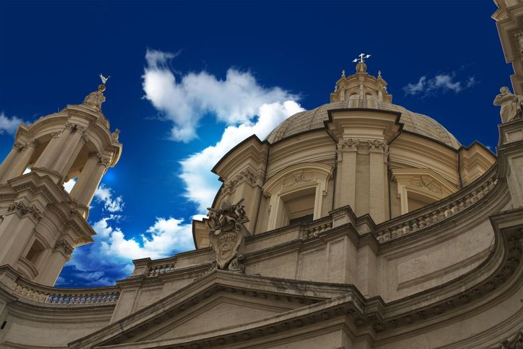 Low Angle View Of Sant Agnese Agone At Piazza Navona Against Sky