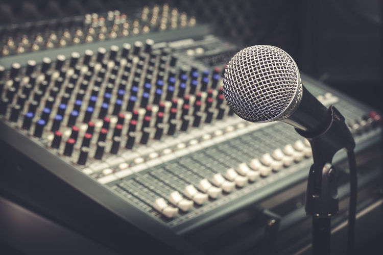 Arts Culture And Entertainment Audio Equipment Close-up Communication Indoors  Microphone Music No People Radio Station Recording Studio Sound Mixer Sound Recording Equipment Technology
