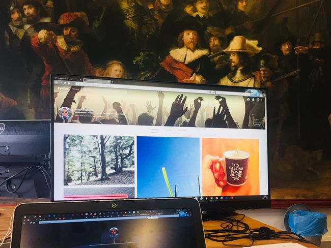 My point of view on fridays Work Taking Photos Taking Pictures Eye4photography  Close-up Working Nachtwacht Rembrandt Art Culture Dutch Indoors  Office Screen Computer Painting History Technology Perspective Photography My Point Of View Cant Help It, Its Just My View..