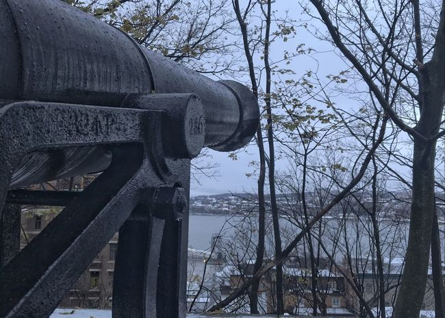 Canon at the ready. Cannon Weapon St Lawrence River Quebec City Old Quebec History Defense Military Fort Horizontal