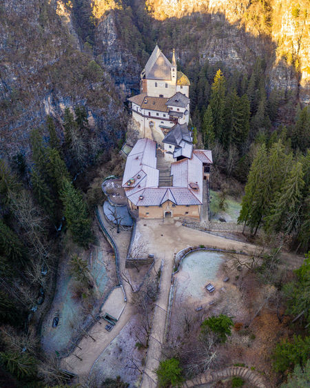 High angle view of buildings in forest