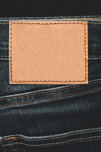 Close-up of label on jeans
