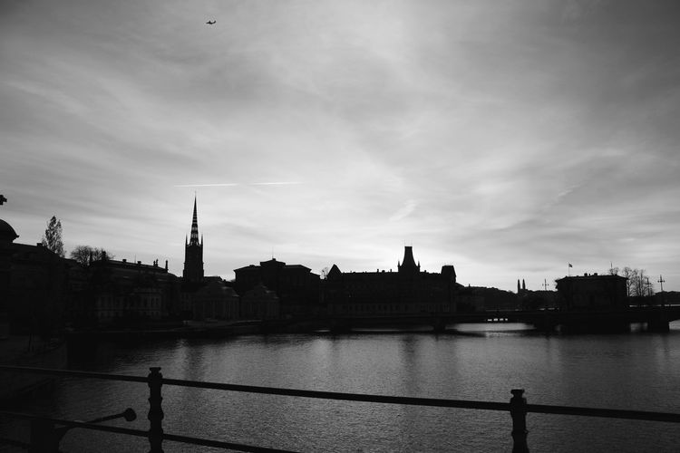 12saysofeyeem Architecture Bridge - Man Made Structure Building Exterior Built Structure City Cloud - Sky Day EyeEm Gallery Monochrome Photography Nature No People Outdoors River Sky Stockholm, Sweden TOWNSCAPE Travel Destinations Water Water And Sky Water Reflections Water_collection