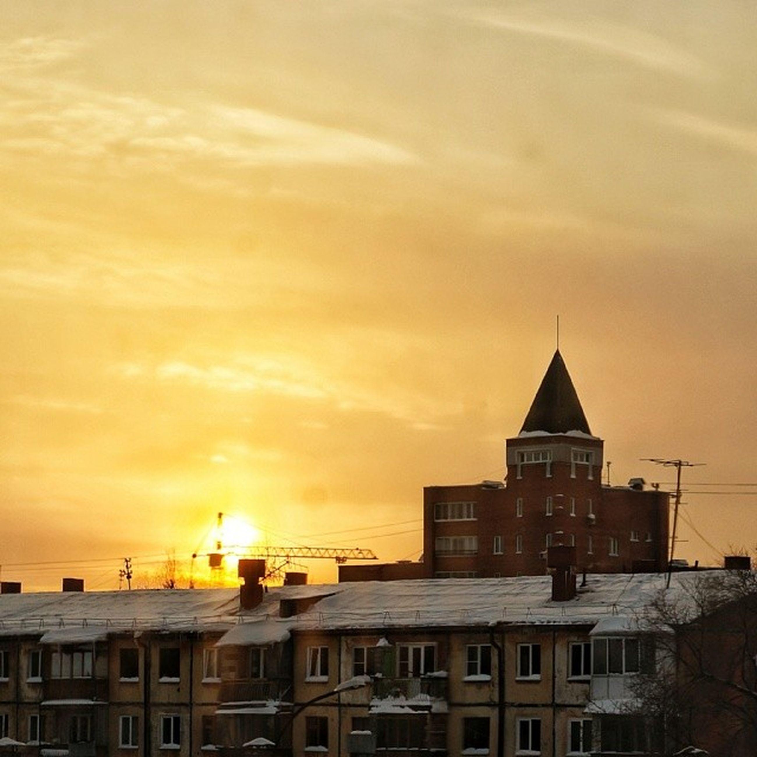 sunset, architecture, building exterior, built structure, orange color, sky, sun, cloud - sky, residential building, building, residential structure, city, house, sunlight, yellow, outdoors, nature, cloud, no people, scenics