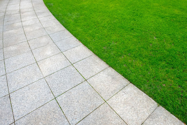 Grass Footpath Green Color Plant Day High Angle View No People Nature Growth Outdoors Direction Park Field Land Park - Man Made Space Lawn Paving Stone Stone Full Frame Pattern Garden Path Concrete Minimalism Minimalist Green Color