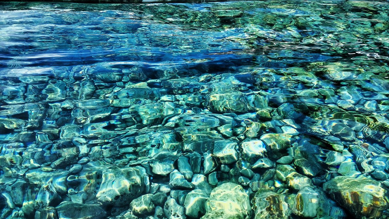 water, full frame, backgrounds, no people, sea, nature, waterfront, day, underwater, blue, rippled, transparent, solid, beauty in nature, rock, outdoors, high angle view, pattern, rock - object, purity, swimming pool, turquoise colored, school of fish