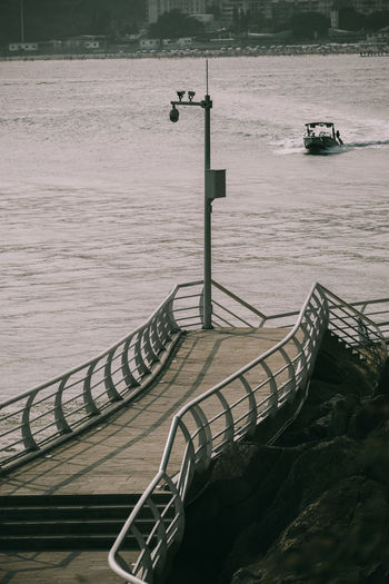 High angle view of pier on river