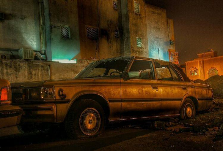 Vintage car at night