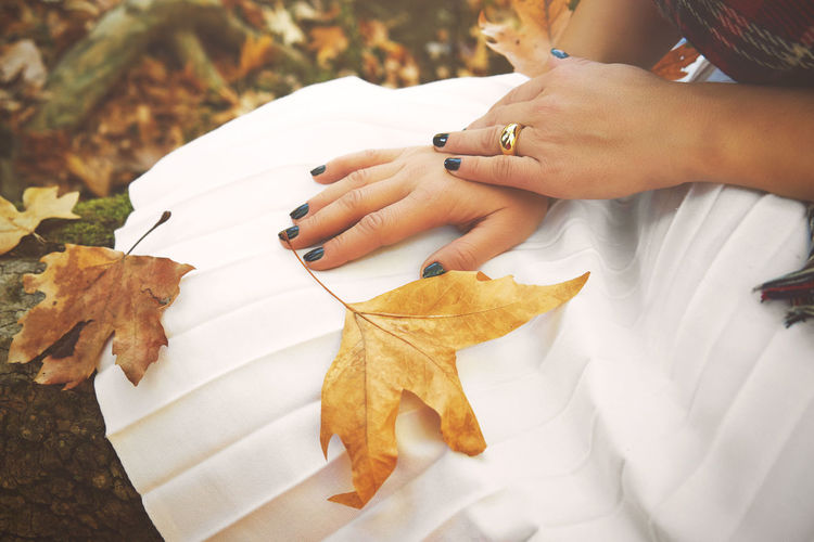 Close-up of woman hand with autumn leaves